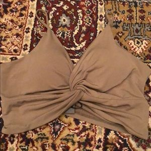 Tops - Olive Green Knotted Crop Top Tank Sz M